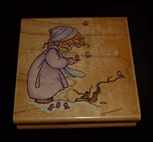 Precious Moments Girl Winter's Song Rubber Stamp
