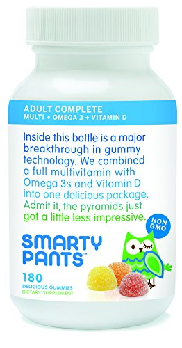 SmartyPants Adult Complete Gummy Vitamins: Multivitamin + Omega 3 DHA / EPA Fish Oil, Vitamin D3, B12 (Methylcobalamin), 180 count