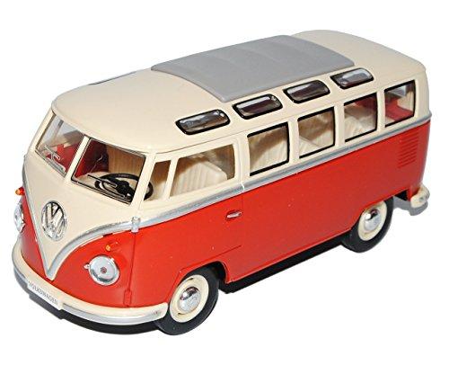 VW-Volkswagen-T1-Rot-Weiss-Samba-Bully-Bus-1950-1967-124-Modellcarsonline-Modell-Auto-mit-individiuellem-Wunschkennzeichen
