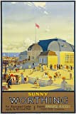 TU50 Vintage Sunny Worthing Southern Electric Railway Travel Poster Re-Print - A2+ (610 x 432mm) 24