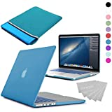 LOVE MY CASE / BUNDLE AQUA BLUE Hard Shell Case with matching KEYBOARD Skin and NEOPRENE Sleeve Cover for 13-inch Apple MacBook PRO with Retina Display [Will only fit MacBook PRO Retina Display Models - NO CD/DVD DRIVE]