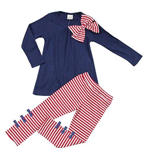 ASHERANGEL 2pcs Baby Girls Bowknot T-shirt Top+pants Leggings Trousers Outfit Navy 3T