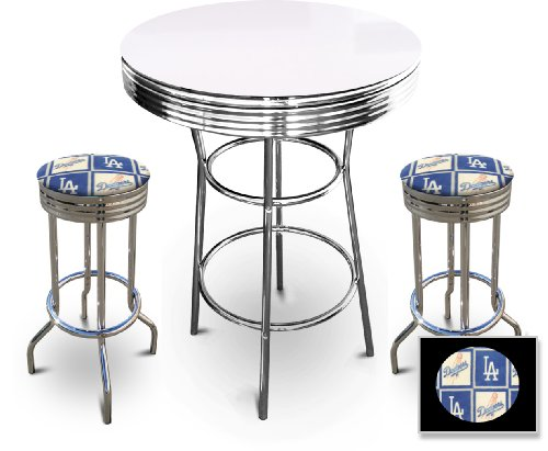 New 3 Piece White Bar Table Set includes 2 Swivel Seat Bar Stools with Los Angeles Dodgers Themed Seat Cushions! at Amazon.com