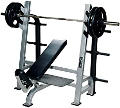 York Barbell Olympic Incline Bench Press with Gun Racks - Commercial Weight Lifting Bench