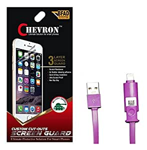 Chevron Ultra Clear HD Screen Guard Protector For Xolo A600 With 2 In 1 Data Cable (Micro USB & Lighting)