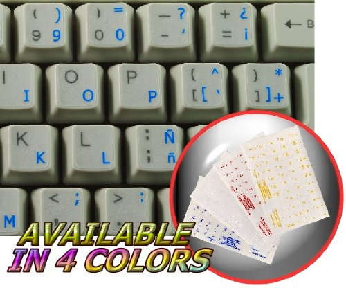 SPANISH (TRADITIONAL) KEYBOARD STICKERS WITH BLUE LETTERING TRANSPARENT BACKGROUND FOR DESKTOP, LAPTOP AND NOTEBOOK
