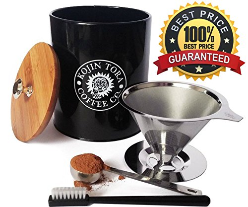 Premium Pour Over Coffee Dripper Set & Tea Maker Bundle - Improved Stainless Steel Paperless Reusable Coffee Filter - Brews 1 to 4 Cups
