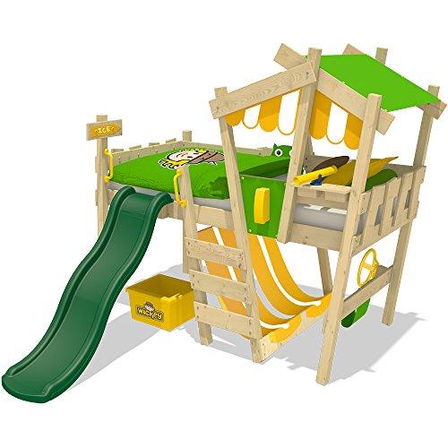 WICKEY-Kinderbett-CrAzY-Hutty-Hochbett-Abenteuerbett-90x200cm-Apfelgrn-Gelb-grne-Rutsche