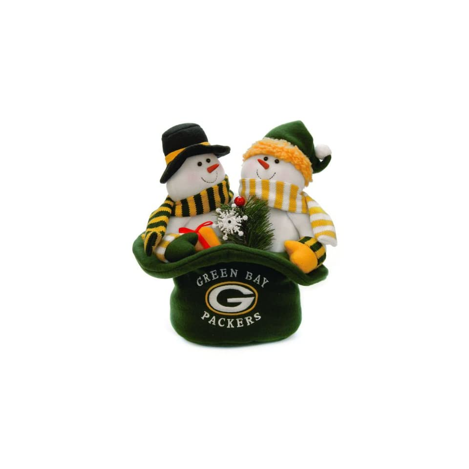12 NFL Green Bay Packers Snowmen Top Hat Table Christmas Decoration
