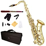 Cecilio 2Series TS-280 Gold Lacquer Bb Tenor Saxophone + Mouthpiece, Case, 10 Reeds and Accessories