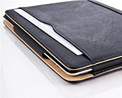 Black & Tan Leather Wallet Smart Flip Case Cover for The New iPad 4 (with Retina Display) + iPad 3 + iPad 2 with Full Sleep Wake compatibility!