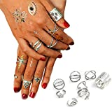 Letter Love Bohemian Gypsy Vintage Retro Joint Knuckle Nail Ring Set of 8 Rings Silver Plated