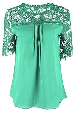 Nergivep Women Plus Size Chiffon Blouse Crochet Half Sleeve Top Tee