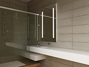 miroir salle de de bains moderne illumin avec d tecteur anti bu e prise rasoir rasoir. Black Bedroom Furniture Sets. Home Design Ideas