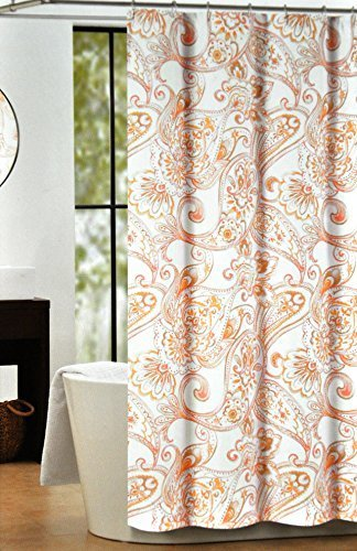 brown and orange shower curtain. Nicole Miller Fabric Shower Curtain Coral Red Blush Water Paisley Medallion  Pattern by Curtains Outlet