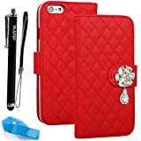 For iPhone 6 Plus case, Apple iPhone 6 plus Flip Case with Beauty Diamond Check Design (iPhone 6 Plus(5.5-inch), Red)