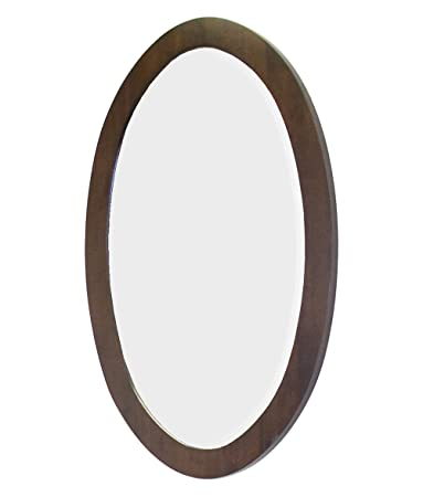 American Imaginations  Transitional Birch Wood-Veneer Wood Mirror , 24-in. W x 36-in.H, Walnut