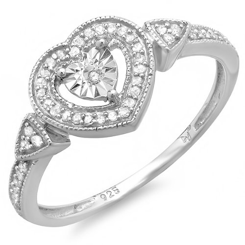 0.15 Carat (ctw) Sterling Silver Round Cut Real Diamond Framed Heart Shaped Promise Ring