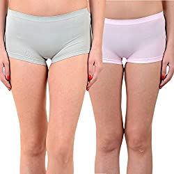 Mynte Women's Sports Shorts (MEWIWCMBP-SHR-98-97, Grey, Baby Pink, Free Size, Pack of 2)