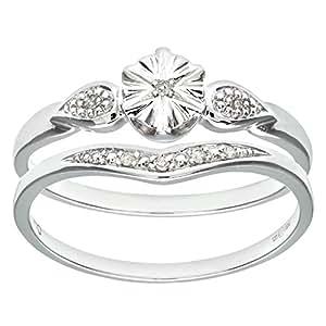 Ensemble Bague de fiançailles et alliance Femme - Or Blanc 375/1000 (9 Cts) 2.3 Gr - Diamant - T 50
