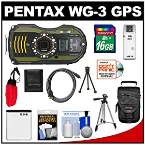 Pentax WG-3 Shock & Waterproof GPS Digital Camera (Green) with 16GB Card + Battery + Case + Tripods + Float Strap + HDMI Cable + Kit from Pentax