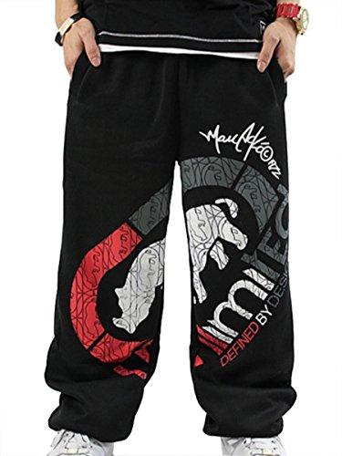 Easy Men'S Sports Hip-Hop Rock Cotton Casual Rhino Print Punk Baggy Pants Black