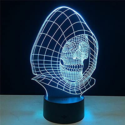 New Halloween Gift Skull LED Light Novelty Night Lamp Bedroom Multi-color Color Changing Luminous Lamp