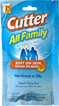 Cutter HG-95838 All Family Insect Repellent Mosquito Wipes, 15 Count 12-Pack