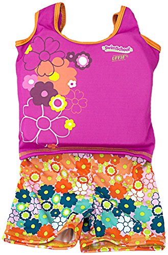 Aqua Leisure ET9136L Girls 1 pc swim trainer, floral print shorts, printed top, with back zipper - L (Leisure Suits For Sale)