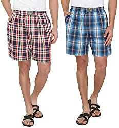 7thStreet Checkered Men's Cotton Boxer Short (Pack of 2)