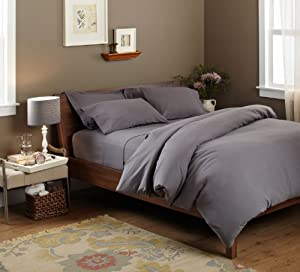 Pinzon Signature 190-Gram Velvet Flannel Duvet Cover Set, Full/Queen, Graphite