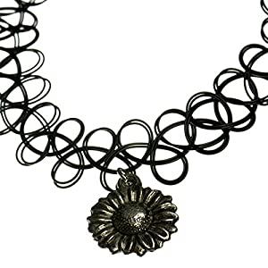 Jewellery of Lords Sun Flower Charm Black Stretch Tattoo Henna Choker Hippy Necklace Indie 1990s