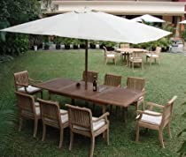 "Hot Sale Giva Grade-A Teak Wood luxurious 9 pc Dining Set : 94"" Double Extension Rectangle Table and 8 Arm / Captain Chairs"