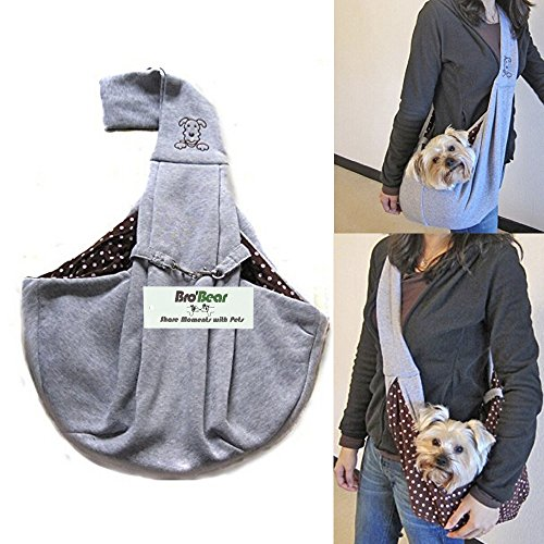 i'Pet® Hands-free Reversible Small Dog Cat Sling Carrier Bag Travel Tote Soft Comfortable Puppy Kitty Rabbit Double-sided Pouch Shoulder Carry Tote Handbag (Grey)