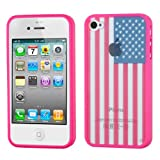 MYBAT Glassy United States National Flag/Hot Pink Gummy Cover for APPLE iPhone 4S/4