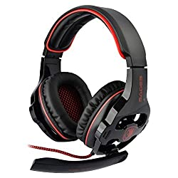 SADES SA-903 Stereo 7.1 Surround Professional USB PC Gaming Headset with Mic & Remoter Black + Red