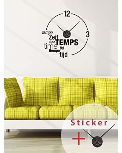 Ambiance Sticker Vinilo Adhesivo Reloj El Tiempo En Diferentes Lenguajes