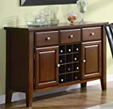 Server Sideboard with Wine Rack in Cherry Finish