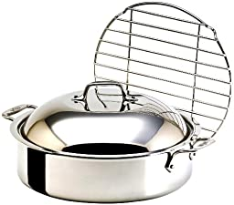 All-Clad 5515 Stainless Steel French Braiser with Rack Cookware, 6-Quart, Silver