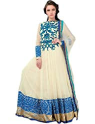 Exotic India Vanilla-Custard Bridal Flared Anarkali Suit With Ari Embroid - Blue