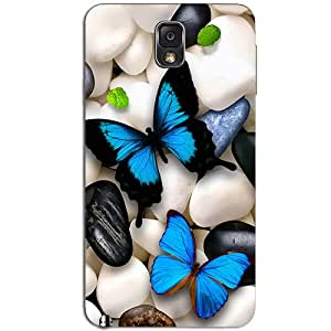 BLUE BUTTERFLY & STONES BACK COVER FOR SAMSUNG GALAXY NOTE 3