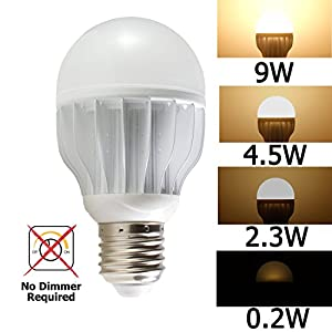 iSmartLED 4 Switchable LED Lighting Levels of 9W/4.5W/2.3W/0.2W(Not for 3-way lamp or socket and No Dimmer Required), A19 for Medium Base Dimmable Soft White, 60W Equivalent Incandescent Bulb, for Type E26, E27, 820lm, Color Temperature 3000K