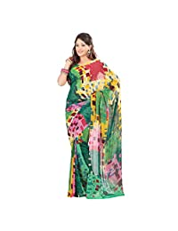Admyrin Multi Colour Georgette Saree With Green Blouse Piece - B00VQ6I2YI