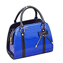 Samaz PU Leather Women Girls Handbag Little Bow Leisure Shoulder Bag (crocodile-royal blue)