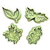 葉っぱ 型 クッキー カッター パイ 型 モールド グリーン 4種 セット / モスグリーン