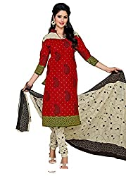 RK Fashion Red Colour Cotton Unstitched Dress Material (CHANDANI1033-Red-Free Size)