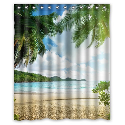 Custom Unique Design Palm Tree Beach Sea Cloud Waterproof Fabric Shower Curtain, 72 By 60-Inch front-551190