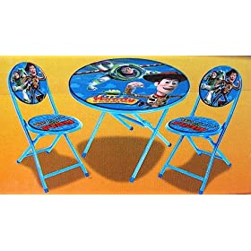 Disney Pixar Toy Story Kids Blue 3-Piece Folding Table and Chair Set ...