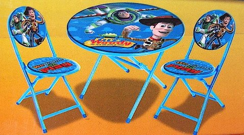 Disney- Pixar Toy Story Kid's Blue 3-Piece Folding Table And Chair Set