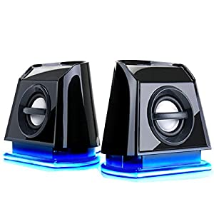 GOgroove BassPULSE 2MX USB 2.0 Computer Stereo Multimedia Speakers with Blue LED GLOW Lights , Powerful Bass , Passive Subwoofers & Volume / LED Controls for Gaming Desktops & Laptop Computers - Works with PC , Apple , Asus , Acer , Dell , Lenovo , Toshiba , Samsung , Sony , VIBOX , Zoostorm & More